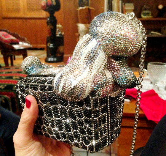 dog swarovski purse