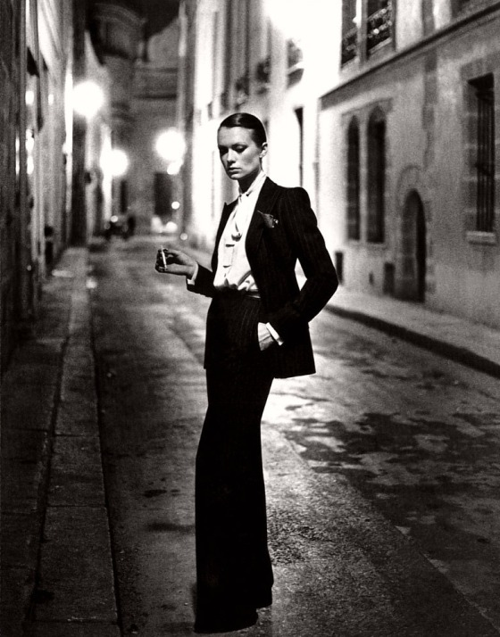 Model wearing a Yves Saint Laurent suit
