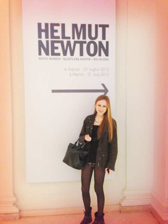 Flaminia in front of Helmut Newton sign