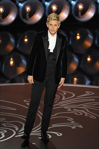 Ellen Degeneres, host wearing Saint Laurent